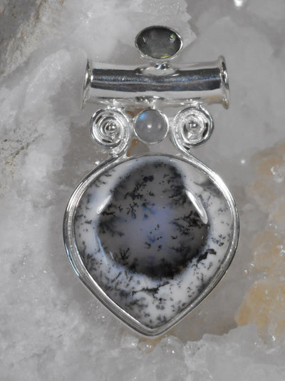 Dendritic Opal Pendant with Labradorite and Moonstone