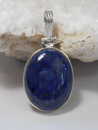 Lapis Oval Pendant 1 with Hinged Bail