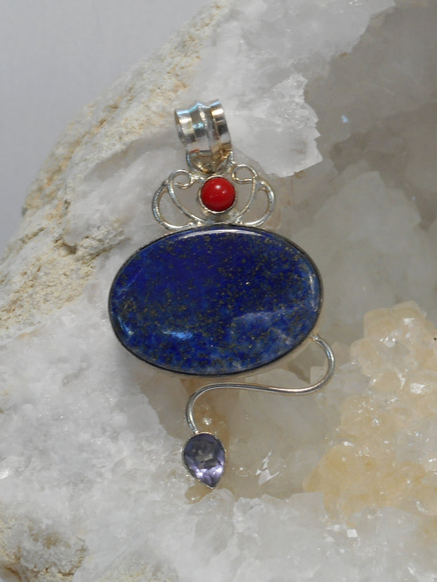 Lapis Pendant 7 with Red Coral and Amethyst Quartz