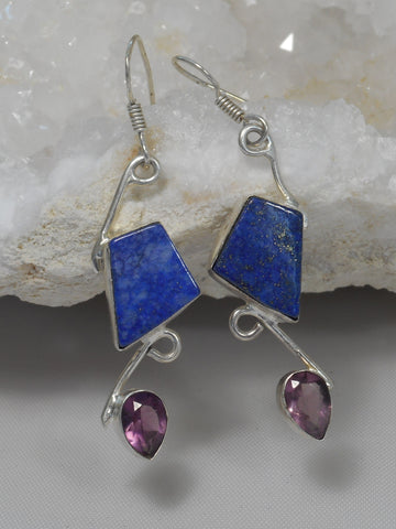 Lapis Earring Set 1 with Amethyst