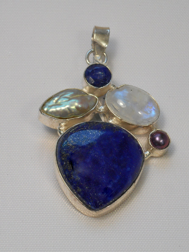 Lapis Pendant 5 with Moonstone and Pearl