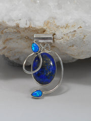 Lapis Pendant 3 with Fire Opals