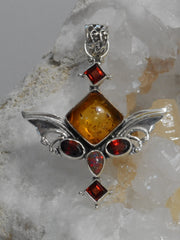 Angel Sterling and Amber Pendant 2 with Fire Opal and Garnets