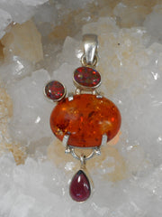 Amber Pendant 4 with Fire Opal and Garnet