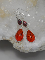 Amber Earring Set 1 with Fire Opal