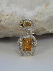 Artisan Amber and Sterling Pendant 1 with Citrine Quartz
