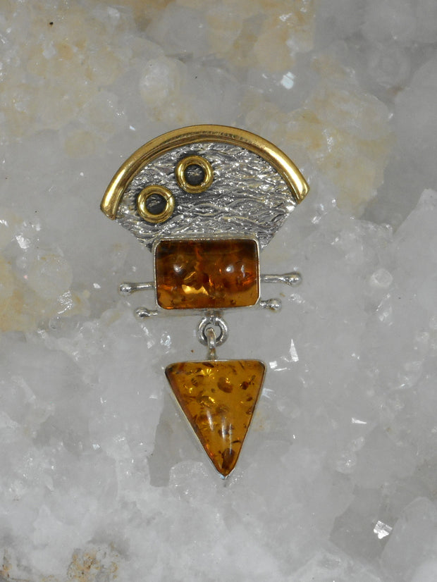 Artisan Amber and Sterling Pendant 2