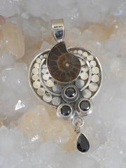 Ammonite and Fossil AJC Signature Sterling Pendant 1 with Onyx