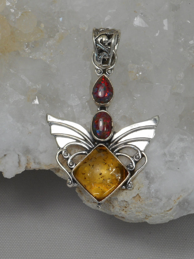 Angel Amber Pendant 3 with Fire Opals