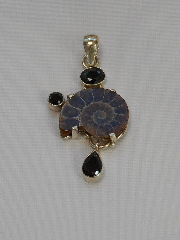 Ammonite Fossil Pendant 6 with Onyx
