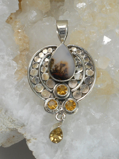 Artisan Dendritic Opal and Sterling Pendant with Citrine Quartz