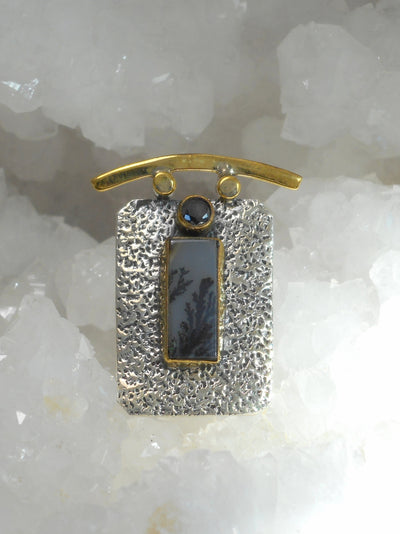 Dendritic Opal and Sterling Pendant 1 with Onyx