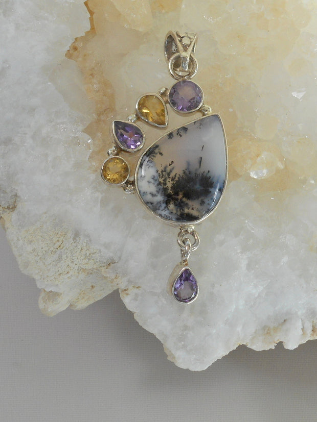 Dendritic Opal Teardrop Pendant with Amethyst and Citrine Quartz