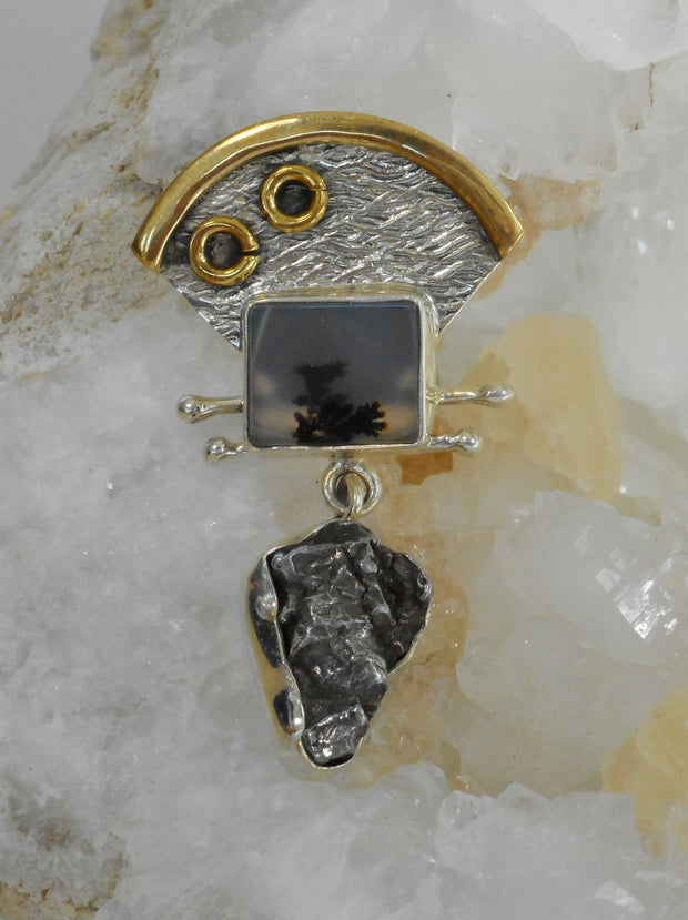 Artisan Meteorite and Sterling Pendant 1 with Dendritic Opal