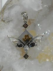 Angel Sterling and Onyx Pendant with Dendritic Opal and Topaz