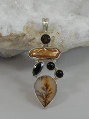 Dendritic Opal Pendant with Onyx Topaz and Pearl