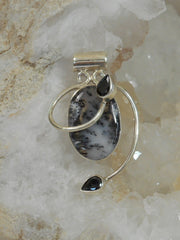 Dendritic Opal Oval Pendant 3 with Onyx