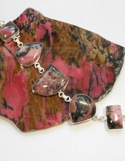 Rhodonite and Sterling Bracelet 1