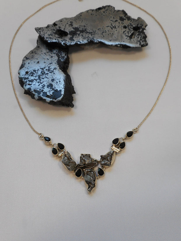 Sterling and Meteorite Necklace 3 with Onyx
