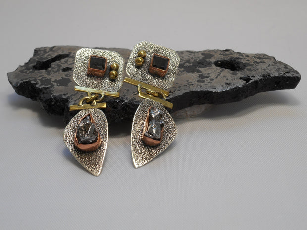 Sterling and Meteorite Earring Set 1 with Onyx
