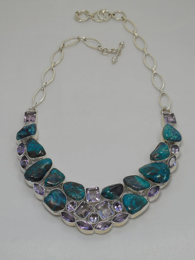 Chrysicolla Gemstones Necklace 1 with Amethyst Quartz Crystals
