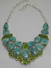 Chrysicolla Necklace 3 with Peridot