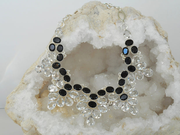 *White Topaz and Black Onyx Necklace 1