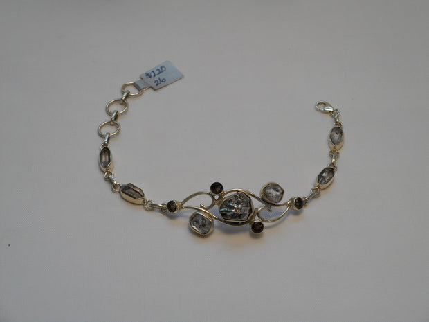 Sterling and Meteorite Bracelet 4 with Smoky Topaz
