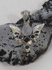 Angel Sterling and Meteorite Pendant 5 with Onyx and Topaz