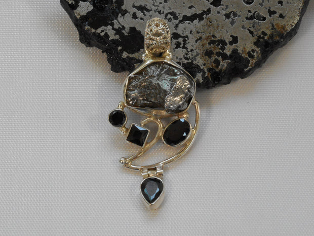 Natural Meteorite Stone Pendant 3 with Onyx