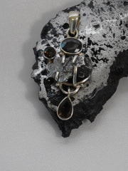Natural Meteorite Stone Pendant 9 with Onyx and Topaz