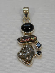 Natural Meteorite Stone Pendant 7 with Onyx and Pearl