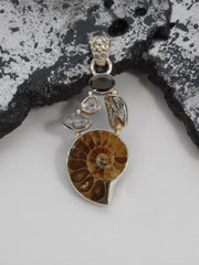 Ammonite Fossil Pendant 10 with Meteorite, Onyx and Herkimer Diamond Quartz Crystals