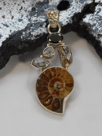 Ammonite Fossil Pendant 10 with Meteorite, Onyx and Herkimer Diamonds