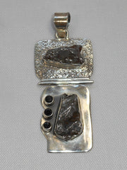 Artisan Meteorite and Sterling Pendant 2 with Onyx