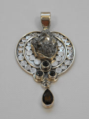 Meteorite and Sterling Pendant 1 with Onyx and Topaz