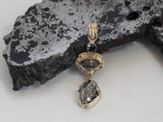 Natural Meteorite Stone Pendant 11 with Herkimer Diamond and Onyx