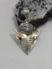 Meteorite and Sterling Pendant 5 with Onyx