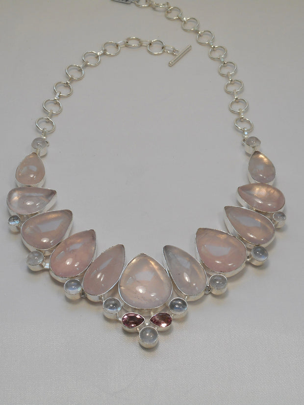 *Rose Quartz and Moonstone Necklace 1 with Pink Amethyst