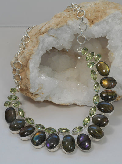 *Labradorite and Green Amethyst Quartz Necklace