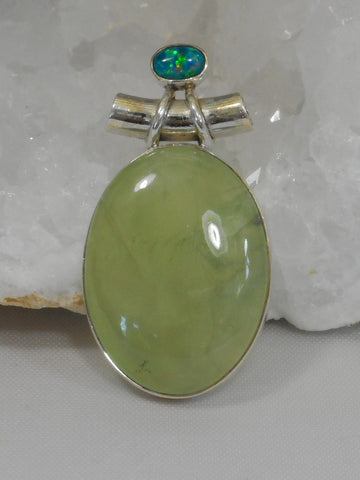 Prehnite and Sterling Pendant 2 with Fire Opal