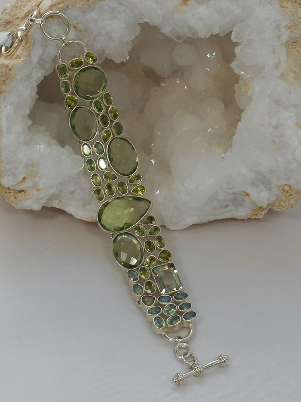 Green Amethyst Quartz and Peridot Bracelet
