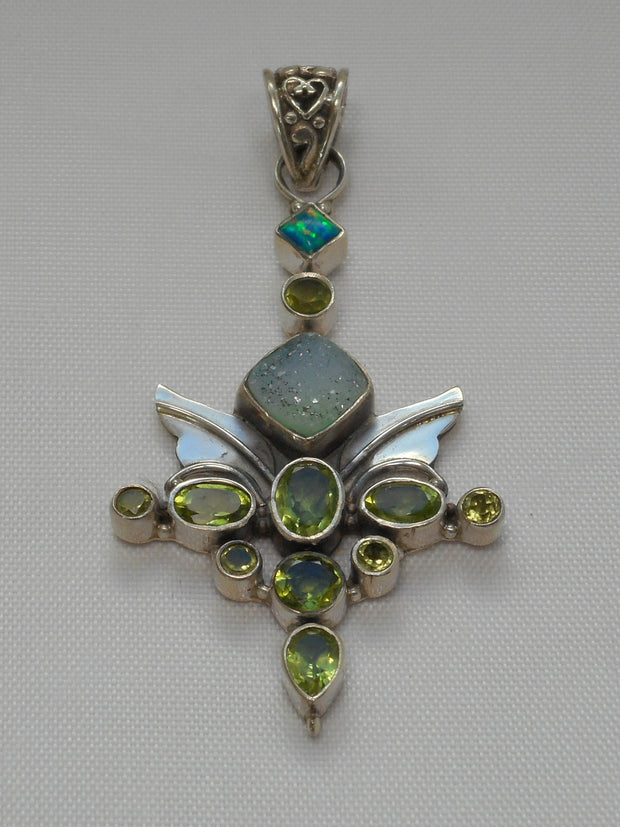 Druzy Quartz and Peridot Pendant with Opal