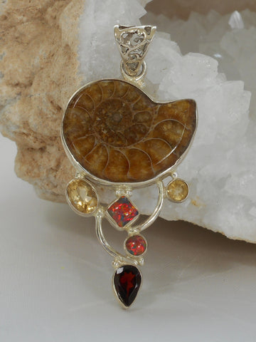 Ammonite Fossil Pendant 8 with Garnet, Fire Opal and Citrine Quartz