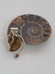 Ammonite Fossil Pendant 2 with Fire Opal
