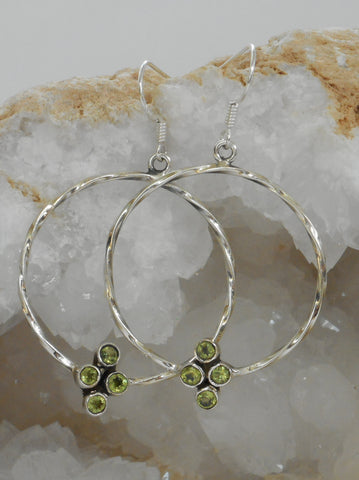 Delicate Peridot and Sterling Hoop Earring Set