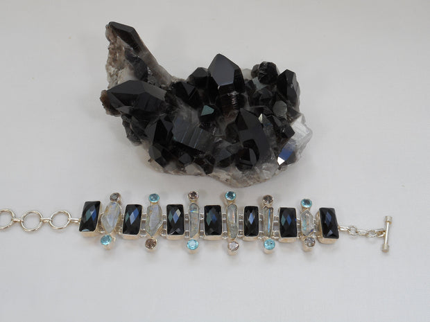 Black Onyx Bracelet 2 with Blue Topaz, Herkimer Diamond Quartz Crystal and Amethyst