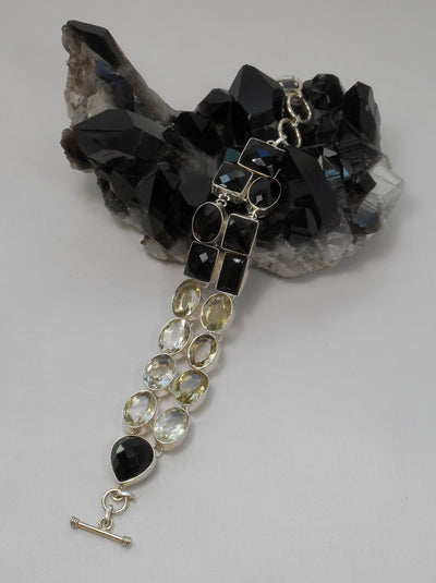 Black Onyx Bracelet 3 with Citrine Quartz