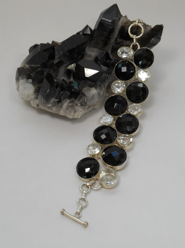 *White Topaz and Black Onyx Bracelet
