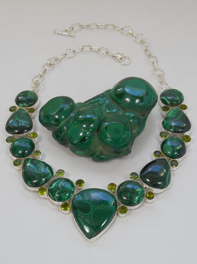 Malachite Gemstones Necklace 1 with Peridot